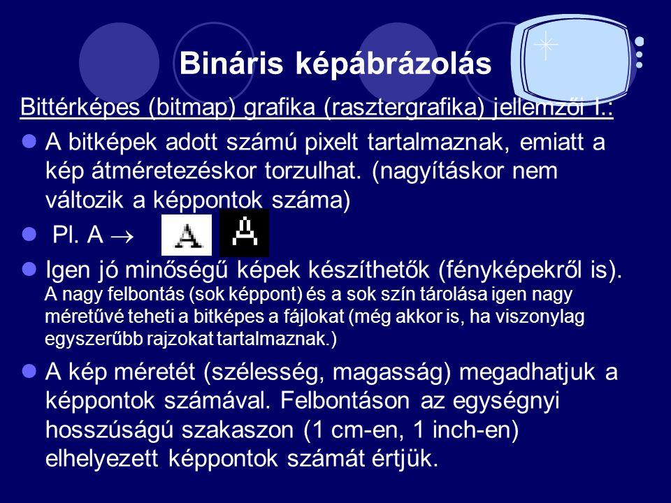 Bináris képábrázolás Bittérképes (bitmap) grafika (rasztergrafika) jellemzői I.: A bitképek adott számú pixelt tartalmaznak, emiatt a kép átméretezéskor torzulhat.