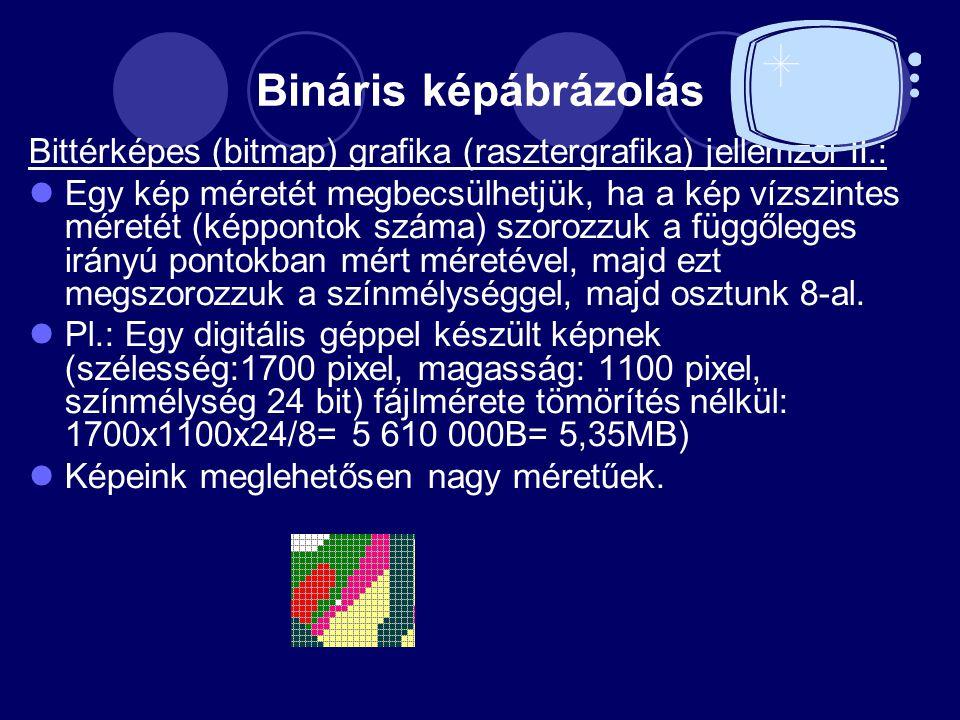 Bináris képábrázolás Bittérképes (bitmap) grafika (rasztergrafika) jellemzői II.: Egy kép méretét megbecsülhetjük, ha a kép vízszintes méretét (képpontok száma) szorozzuk a függőleges irányú pontokban mért méretével, majd ezt megszorozzuk a színmélységgel, majd osztunk 8 ‑ al.
