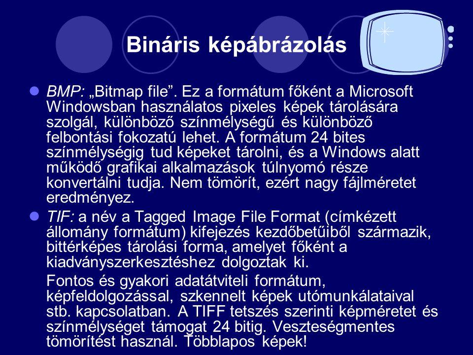 """Bináris képábrázolás BMP: """"Bitmap file ."""