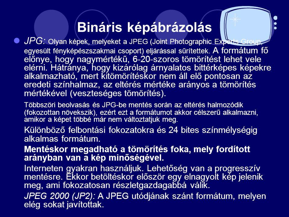 Bináris képábrázolás JPG: Olyan képek, melyeket a JPEG (Joint Photographic Experts Group, egyesült fényképészszakmai csoport) eljárással sűrítettek. A