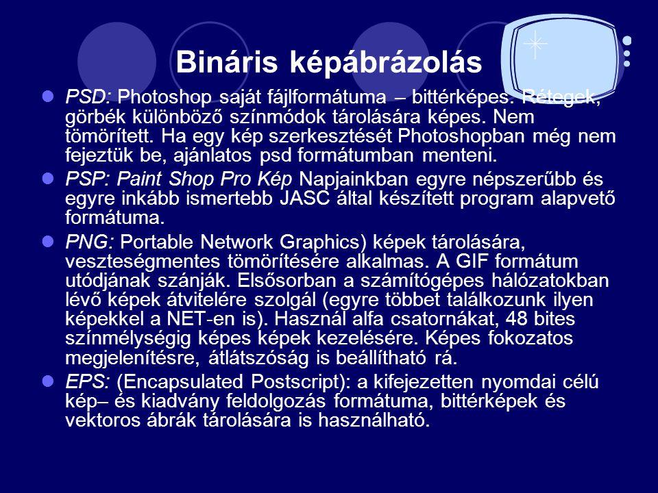 Bináris képábrázolás PSD: Photoshop saját fájlformátuma – bittérképes. Rétegek, görbék különböző színmódok tárolására képes. Nem tömörített. Ha egy ké