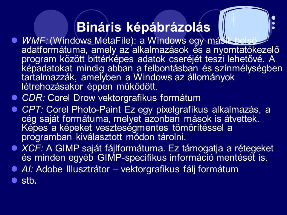 Bináris képábrázolás WMF: (Windows MetaFile): a Windows egy másik belső adatformátuma, amely az alkalmazások és a nyomtatókezelő program között bittérképes adatok cseréjét teszi lehetővé.
