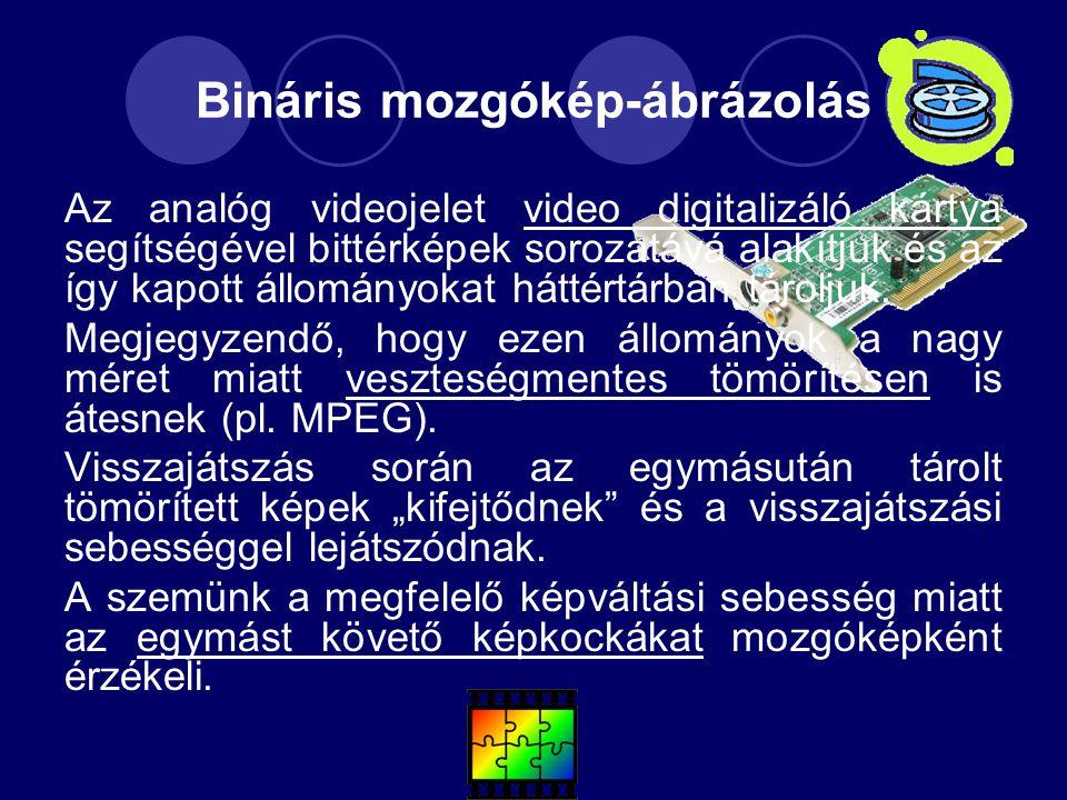 Bináris mozgókép-ábrázolás Az analóg videojelet video digitalizáló kártya segítségével bittérképek sorozatává alakítjuk és az így kapott állományokat háttértárban tároljuk.