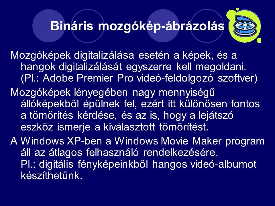 Bináris mozgókép-ábrázolás Mozgóképek digitalizálása esetén a képek, és a hangok digitalizálását egyszerre kell megoldani.