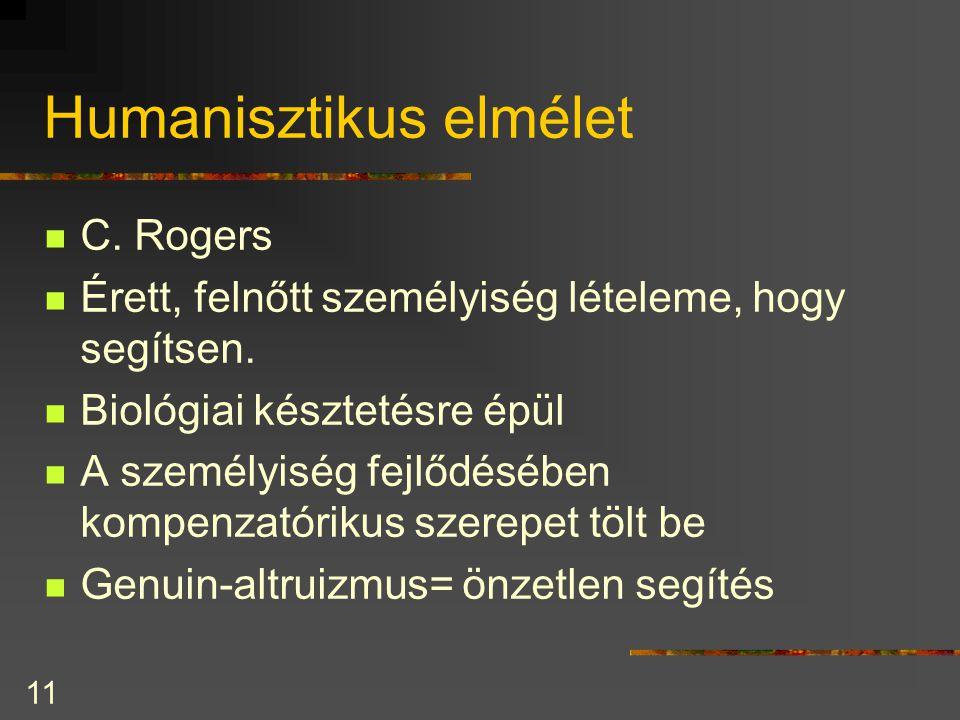 11 Humanisztikus elmélet C.Rogers Érett, felnőtt személyiség lételeme, hogy segítsen.