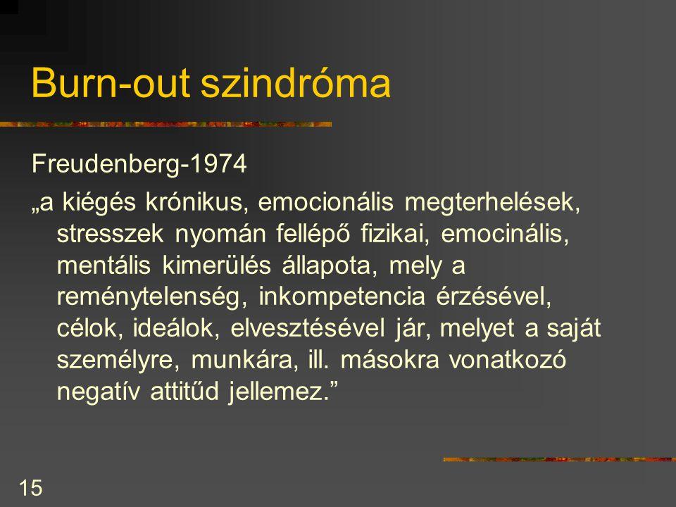 """15 Burn-out szindróma Freudenberg-1974 """"a kiégés krónikus, emocionális megterhelések, stresszek nyomán fellépő fizikai, emocinális, mentális kimerülés állapota, mely a reménytelenség, inkompetencia érzésével, célok, ideálok, elvesztésével jár, melyet a saját személyre, munkára, ill."""