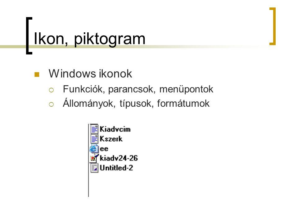 Ikon, piktogram Windows ikonok  Funkciók, parancsok, menüpontok  Állományok, típusok, formátumok