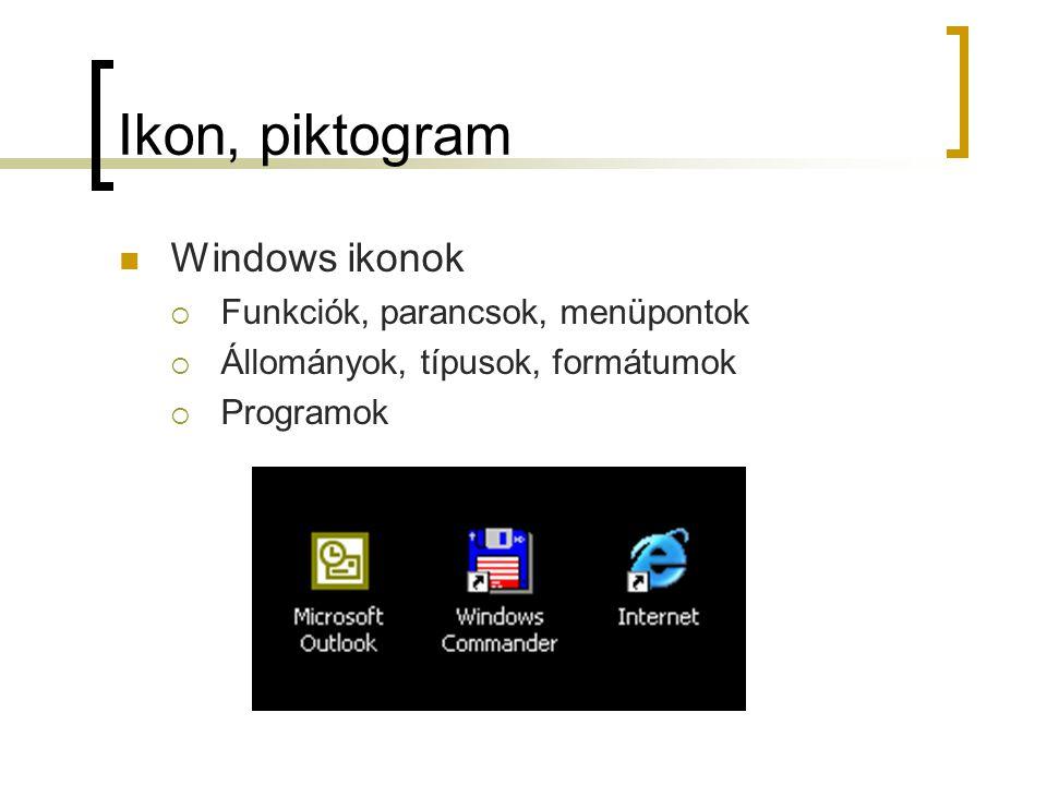 Ikon, piktogram Windows ikonok  Funkciók, parancsok, menüpontok  Állományok, típusok, formátumok  Programok Hétköznapi ikonok, piktogramok  No smoking, harapós kutya, stb 