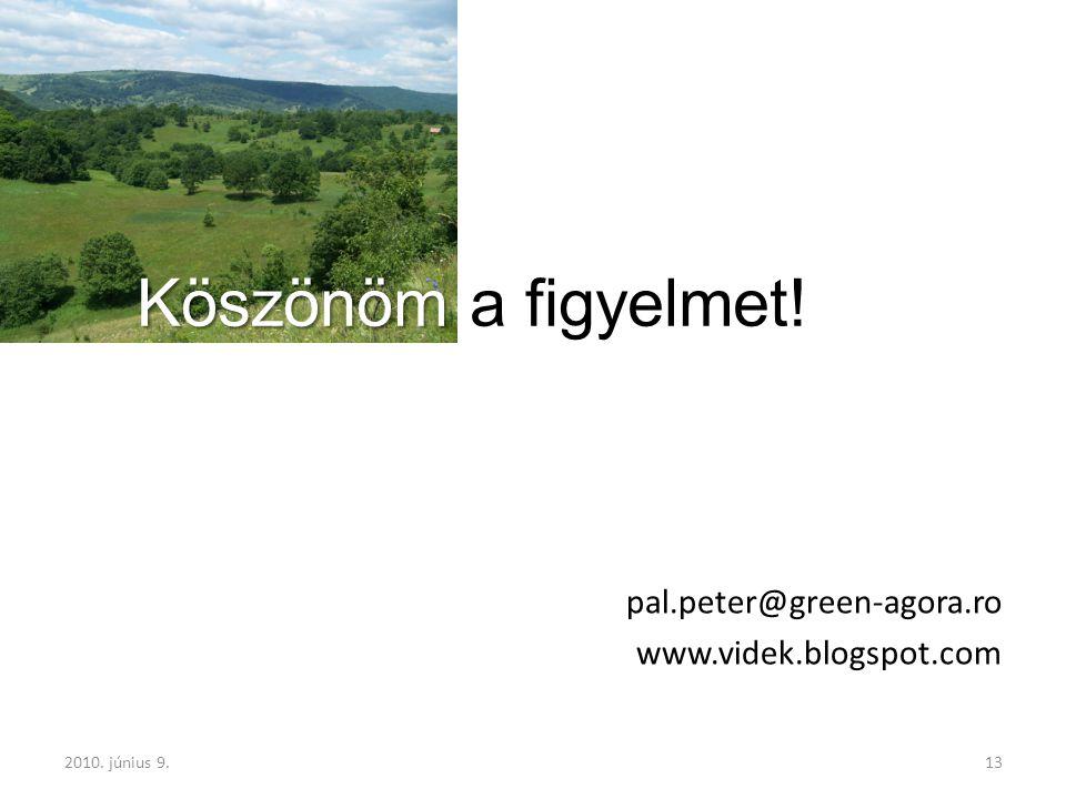 2010. június 9.13 Köszönöm Köszönöm a figyelmet! pal.peter@green-agora.ro www.videk.blogspot.com