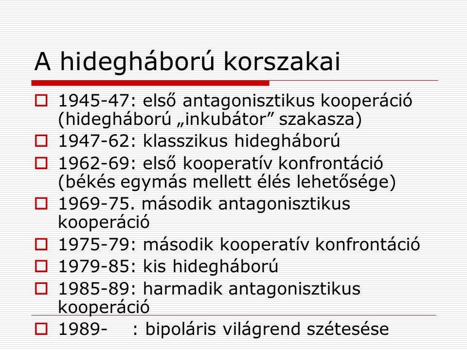 """A hidegháború korszakai  1945-47: első antagonisztikus kooperáció (hidegháború """"inkubátor"""" szakasza)  1947-62: klasszikus hidegháború  1962-69: els"""