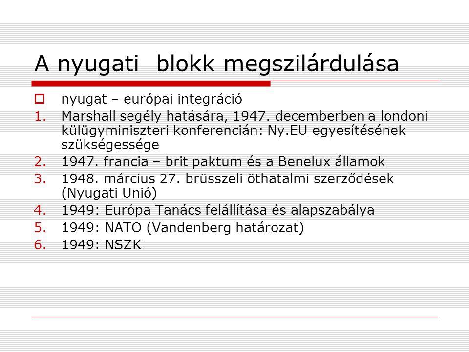 A nyugati blokk megszilárdulása  nyugat – európai integráció 1.Marshall segély hatására, 1947. decemberben a londoni külügyminiszteri konferencián: N