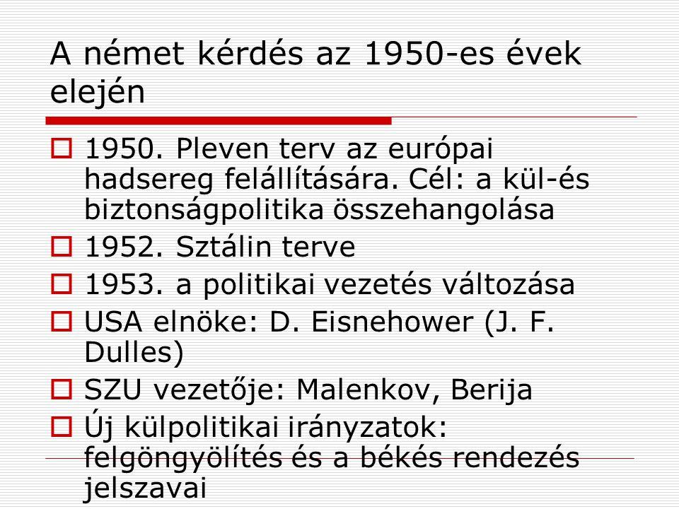 A német kérdés az 1950-es évek elején  1950. Pleven terv az európai hadsereg felállítására. Cél: a kül-és biztonságpolitika összehangolása  1952. Sz