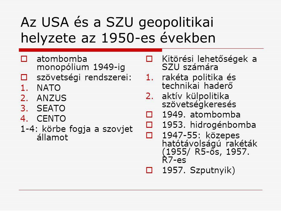 Az USA és a SZU geopolitikai helyzete az 1950-es években  atombomba monopólium 1949-ig  szövetségi rendszerei: 1.NATO 2.ANZUS 3.SEATO 4.CENTO 1-4: k