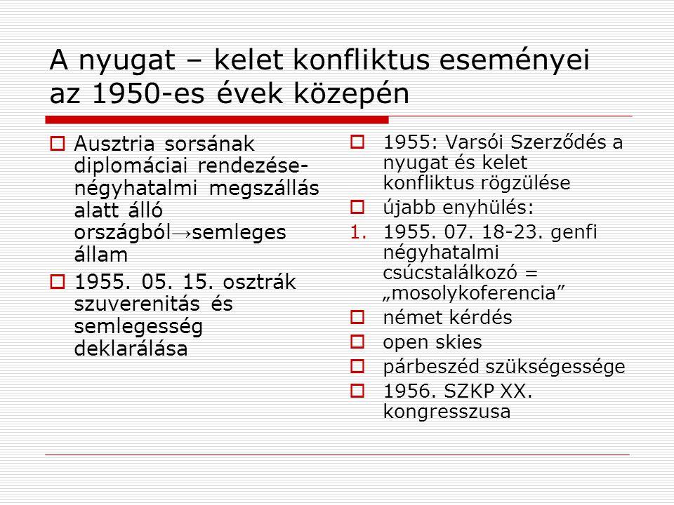 A nyugat – kelet konfliktus eseményei az 1950-es évek közepén  Ausztria sorsának diplomáciai rendezése- négyhatalmi megszállás alatt álló országból →