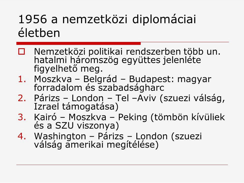 1956 a nemzetközi diplomáciai életben  Nemzetközi politikai rendszerben több un. hatalmi háromszög együttes jelenléte figyelhető meg. 1.Moszkva – Bel