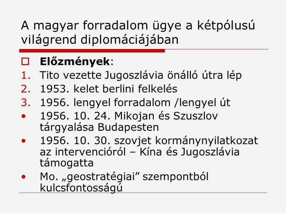 A magyar forradalom ügye a kétpólusú világrend diplomáciájában  Előzmények: 1.Tito vezette Jugoszlávia önálló útra lép 2.1953. kelet berlini felkelés