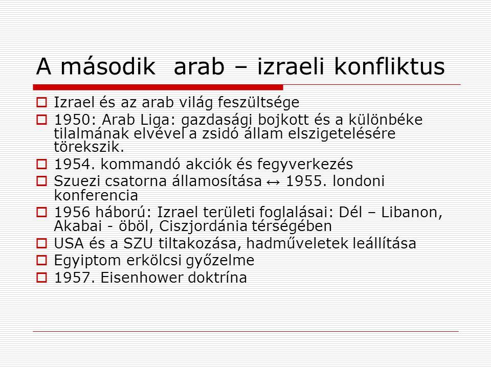 A második arab – izraeli konfliktus  Izrael és az arab világ feszültsége  1950: Arab Liga: gazdasági bojkott és a különbéke tilalmának elvével a zsi