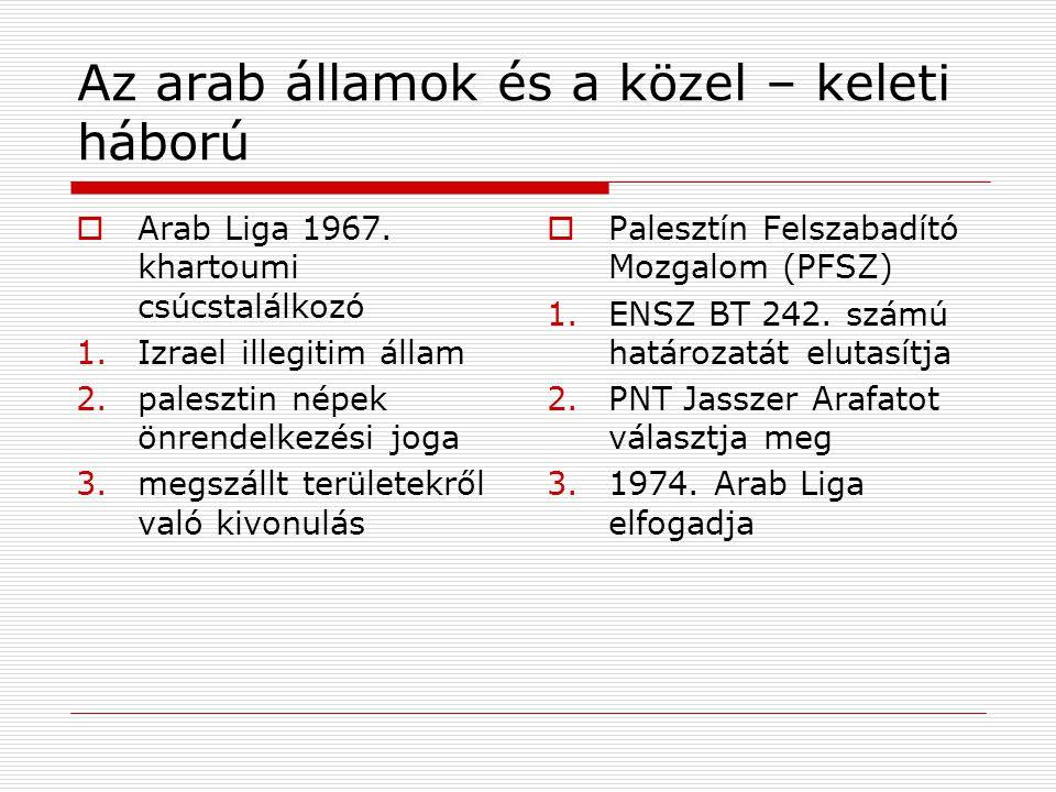 Az arab államok és a közel – keleti háború  Arab Liga 1967. khartoumi csúcstalálkozó 1.Izrael illegitim állam 2.palesztin népek önrendelkezési joga 3