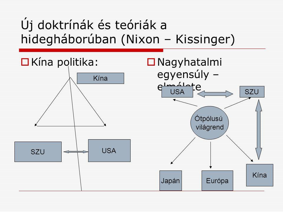 Új doktrínák és teóriák a hidegháborúban (Nixon – Kissinger)  Kína politika:  Nagyhatalmi egyensúly – elmélete USA Kína SZU Ótpólusú világrend Japán