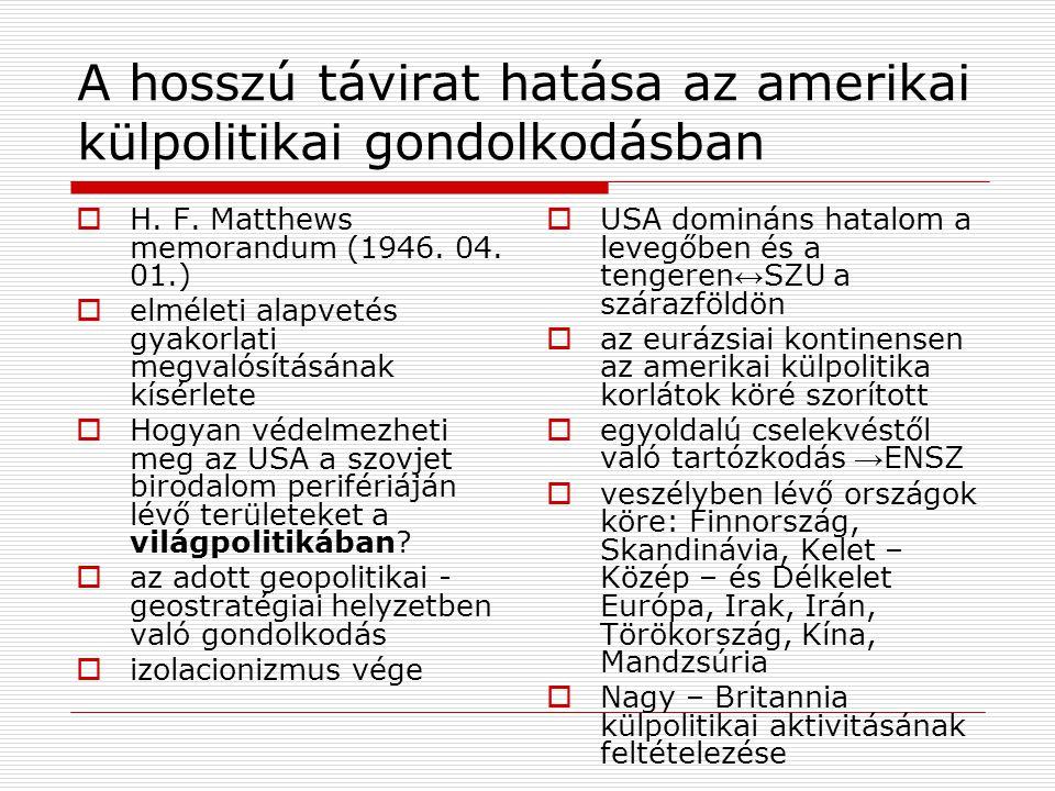 A helsinki konferencia  Három témakör: 1.európai biztonság (SALT tárgyalások 1968-72) 2.együttműködés a gazdaság, a technika, a tudomány és a kultúra területén 3.együttműködés a humanitás kérdésében  Alapelvek: 1.szuverén egyenlőség 2.tartózkodás az erőszaktól 3.határok sérthetetlensége 4.államok területi épsége viták békés rendezése 5.viták békés rendezése 6.népek egyenjogúsága és önrendelkezési jogának tiszteletben tartása 7.államok együttműködése 8.nemzetközi jog 9.emberi jogok tiszteletben tartása 10.belügyekbe való be nem avatkozás
