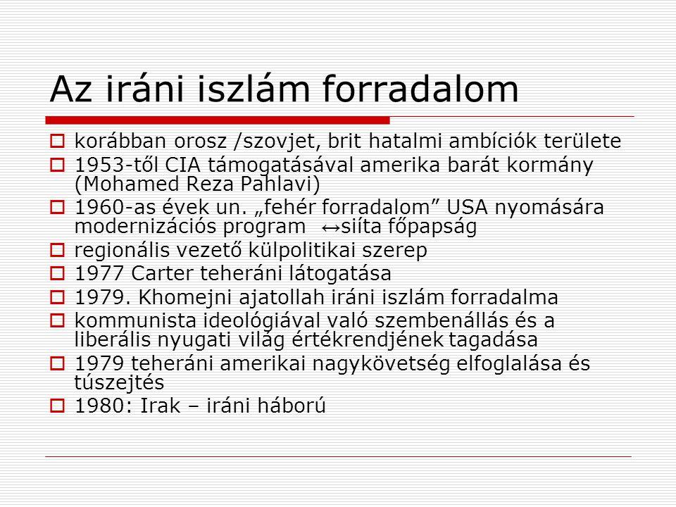Az iráni iszlám forradalom  korábban orosz /szovjet, brit hatalmi ambíciók területe  1953-től CIA támogatásával amerika barát kormány (Mohamed Reza