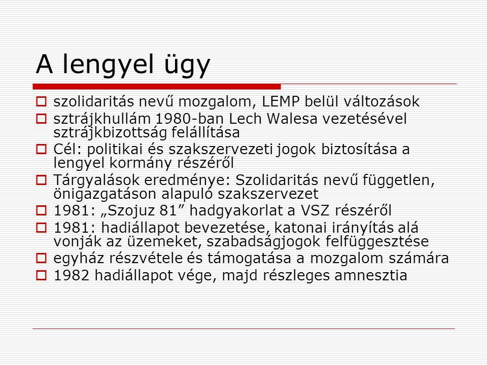 A lengyel ügy  szolidaritás nevű mozgalom, LEMP belül változások  sztrájkhullám 1980-ban Lech Walesa vezetésével sztrájkbizottság felállítása  Cél: