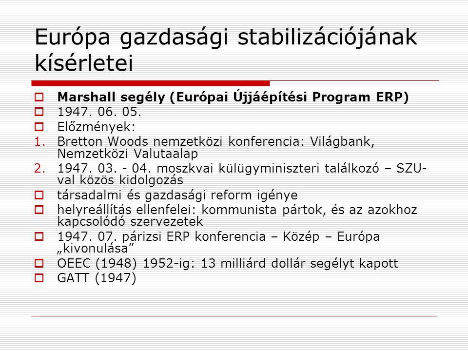 Európa gazdasági stabilizációjának kísérletei  Marshall segély (Európai Újjáépítési Program ERP)  1947. 06. 05.  Előzmények: 1.Bretton Woods nemzet