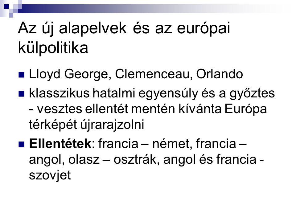 Az új alapelvek és az európai külpolitika Lloyd George, Clemenceau, Orlando klasszikus hatalmi egyensúly és a győztes - vesztes ellentét mentén kívánt