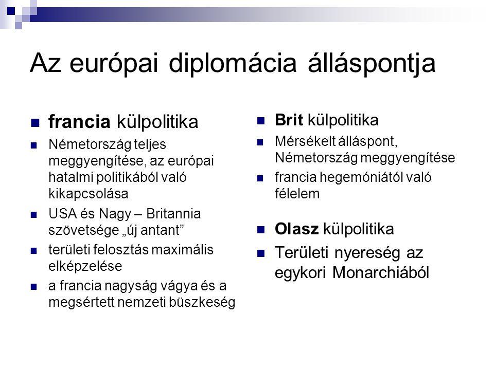 Az európai diplomácia álláspontja francia külpolitika Németország teljes meggyengítése, az európai hatalmi politikából való kikapcsolása USA és Nagy –