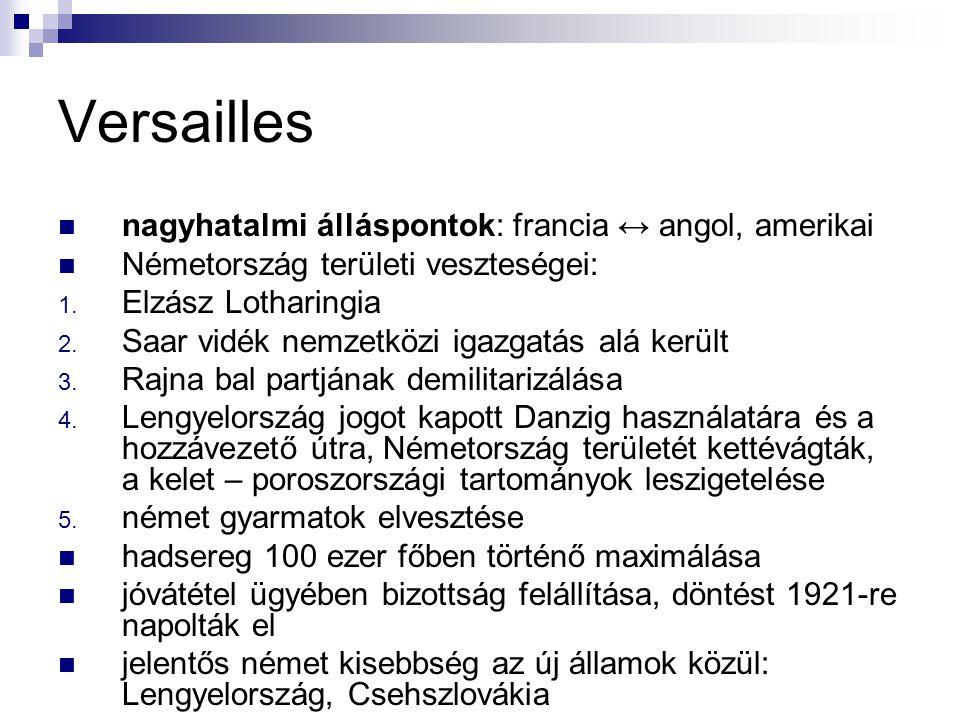 Versailles nagyhatalmi álláspontok: francia ↔ angol, amerikai Németország területi veszteségei: 1. Elzász Lotharingia 2. Saar vidék nemzetközi igazgat