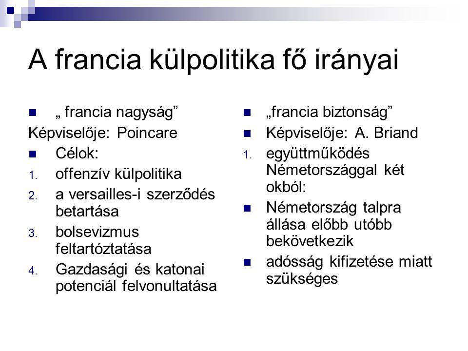 """A francia külpolitika fő irányai """" francia nagyság"""" Képviselője: Poincare Célok: 1. offenzív külpolitika 2. a versailles-i szerződés betartása 3. bols"""