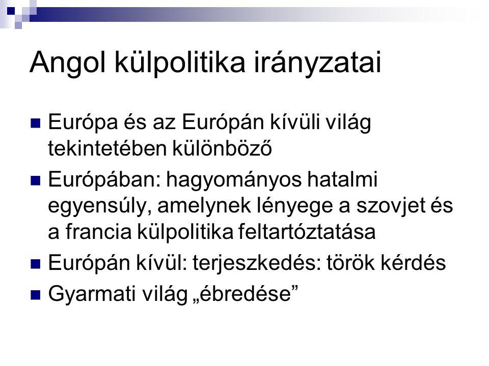 Angol külpolitika irányzatai Európa és az Európán kívüli világ tekintetében különböző Európában: hagyományos hatalmi egyensúly, amelynek lényege a szo