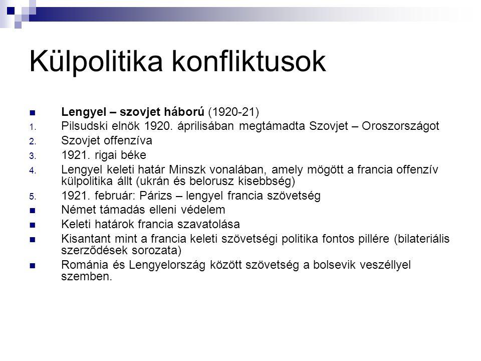 Külpolitika konfliktusok Lengyel – szovjet háború (1920-21) 1. Pilsudski elnök 1920. áprilisában megtámadta Szovjet – Oroszországot 2. Szovjet offenzí