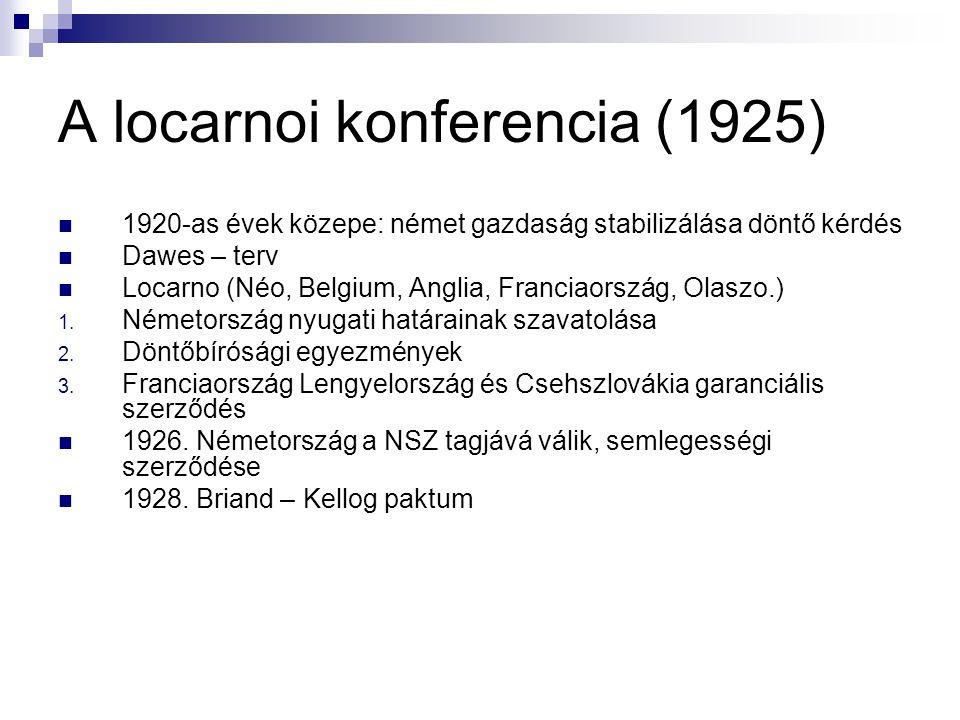A locarnoi konferencia (1925) 1920-as évek közepe: német gazdaság stabilizálása döntő kérdés Dawes – terv Locarno (Néo, Belgium, Anglia, Franciaország