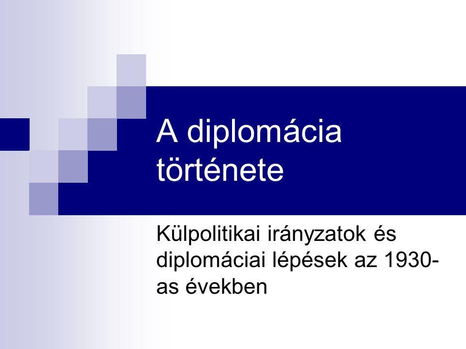 A diplomácia története Külpolitikai irányzatok és diplomáciai lépések az 1930- as években