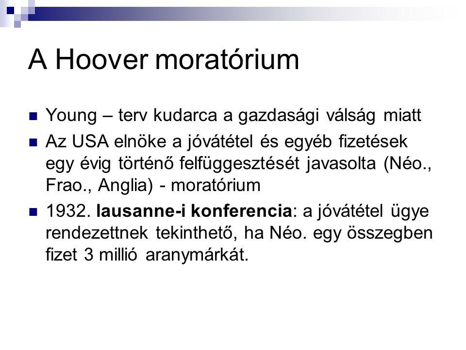 A Hoover moratórium Young – terv kudarca a gazdasági válság miatt Az USA elnöke a jóvátétel és egyéb fizetések egy évig történő felfüggesztését javaso