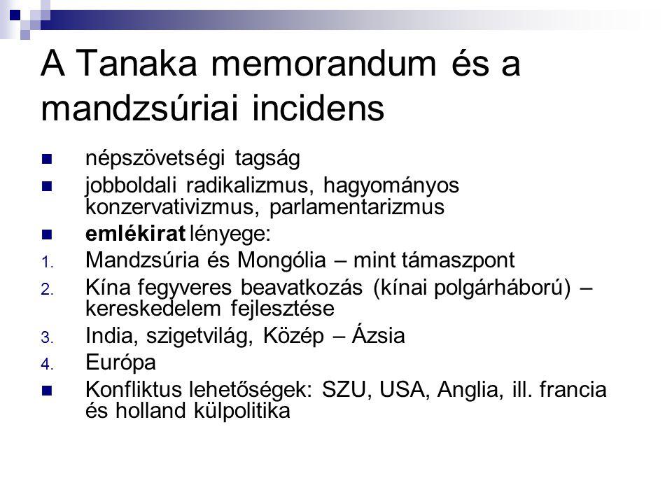A Tanaka memorandum és a mandzsúriai incidens népszövetségi tagság jobboldali radikalizmus, hagyományos konzervativizmus, parlamentarizmus emlékirat l