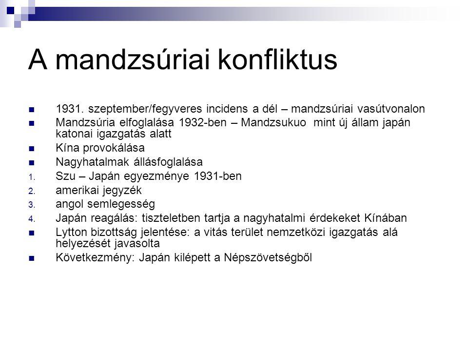 A mandzsúriai konfliktus 1931. szeptember/fegyveres incidens a dél – mandzsúriai vasútvonalon Mandzsúria elfoglalása 1932-ben – Mandzsukuo mint új áll