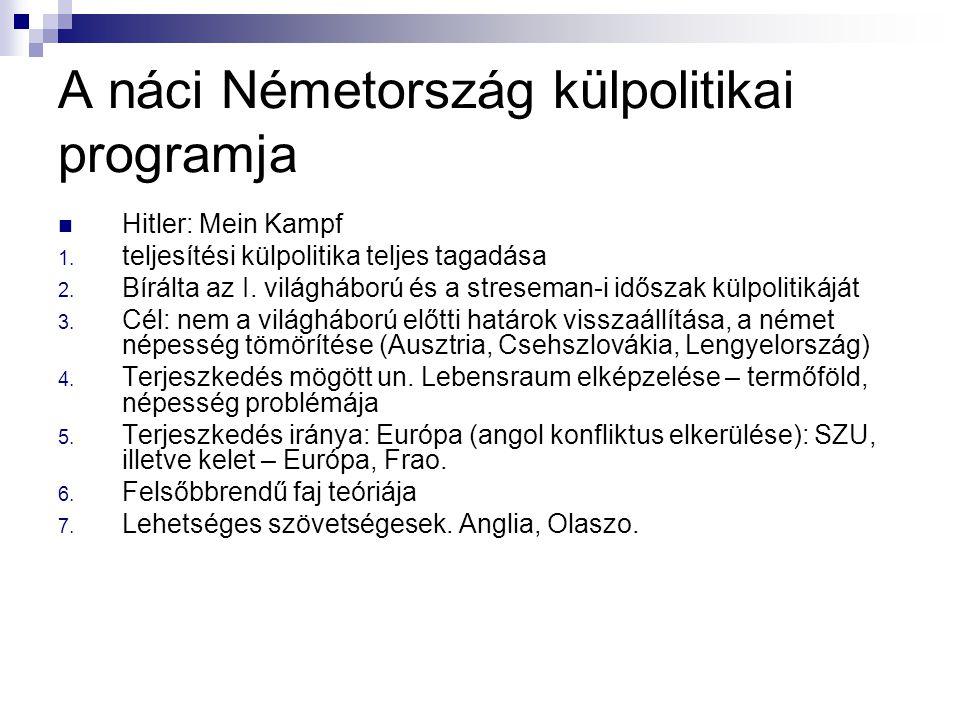 A náci Németország külpolitikai programja Hitler: Mein Kampf 1. teljesítési külpolitika teljes tagadása 2. Bírálta az I. világháború és a streseman-i