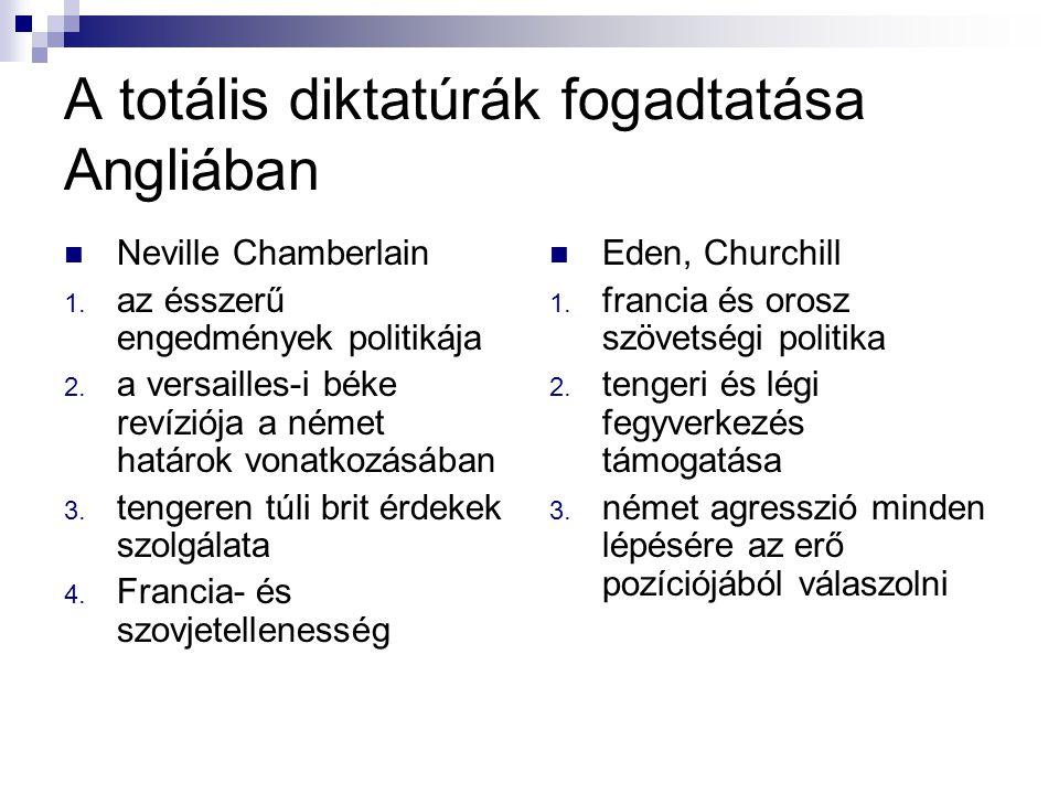 A totális diktatúrák fogadtatása Angliában Neville Chamberlain 1. az ésszerű engedmények politikája 2. a versailles-i béke revíziója a német határok v
