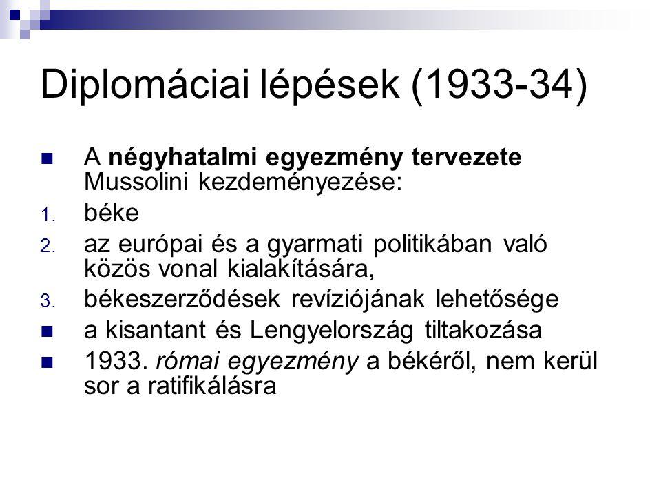 Diplomáciai lépések (1933-34) A négyhatalmi egyezmény tervezete Mussolini kezdeményezése: 1. béke 2. az európai és a gyarmati politikában való közös v