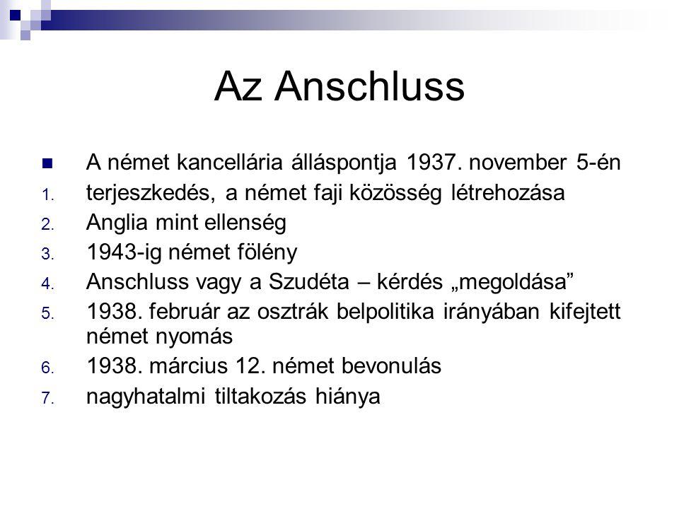 Az Anschluss A német kancellária álláspontja 1937. november 5-én 1. terjeszkedés, a német faji közösség létrehozása 2. Anglia mint ellenség 3. 1943-ig