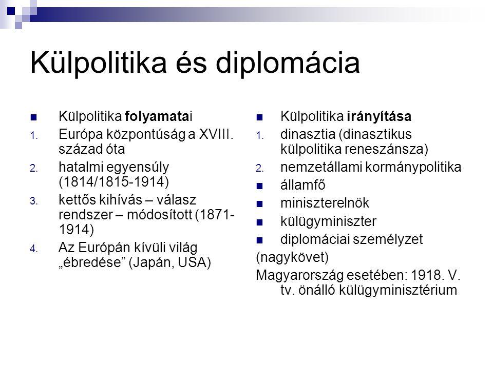 Külpolitika és diplomácia Külpolitika folyamatai 1. Európa központúság a XVIII. század óta 2. hatalmi egyensúly (1814/1815-1914) 3. kettős kihívás – v