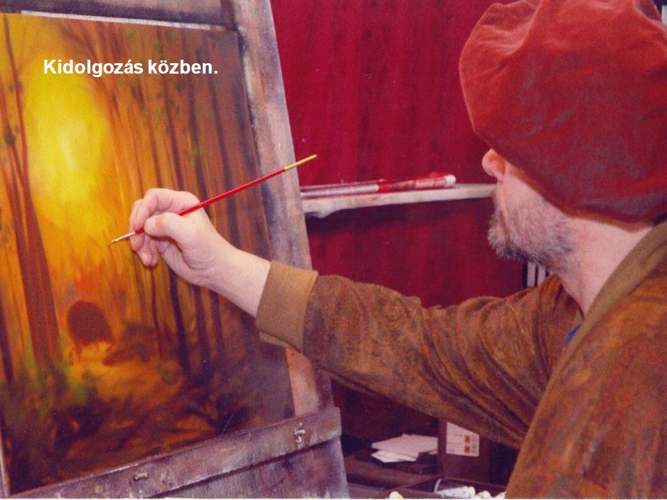 Műtermi festőként: aláfestés után.