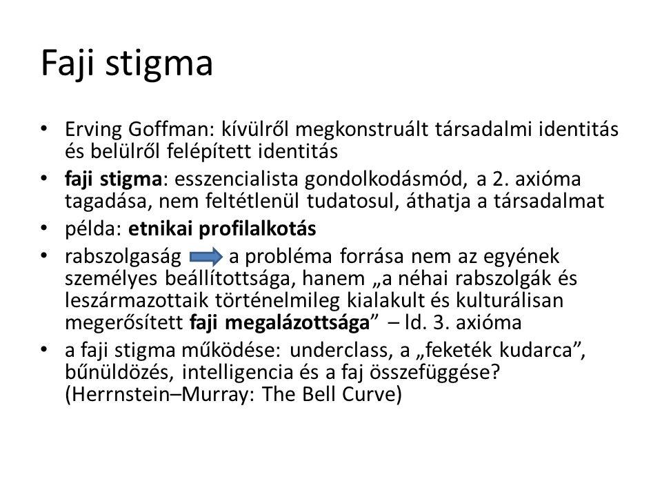 Faji stigma Erving Goffman: kívülről megkonstruált társadalmi identitás és belülről felépített identitás faji stigma: esszencialista gondolkodásmód, a 2.