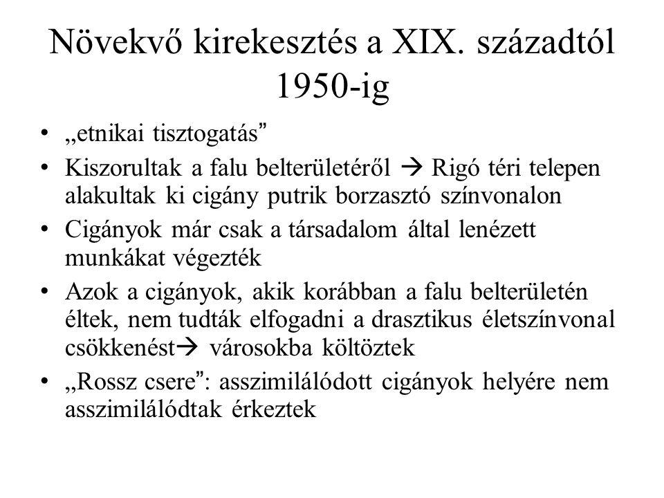 """Növekvő kirekesztés a XIX. századtól 1950-ig """"etnikai tisztogatás"""" Kiszorultak a falu belterületéről  Rigó téri telepen alakultak ki cigány putrik bo"""