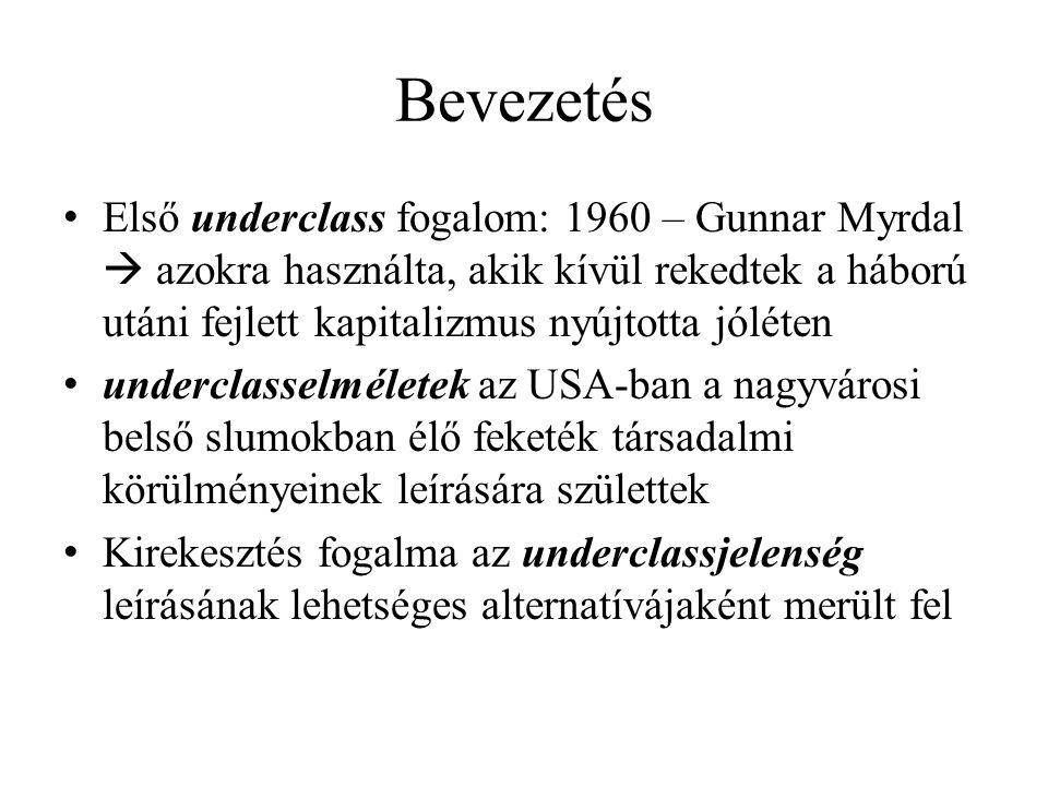 Bevezetés Első underclass fogalom: 1960 – Gunnar Myrdal  azokra használta, akik kívül rekedtek a háború utáni fejlett kapitalizmus nyújtotta jóléten
