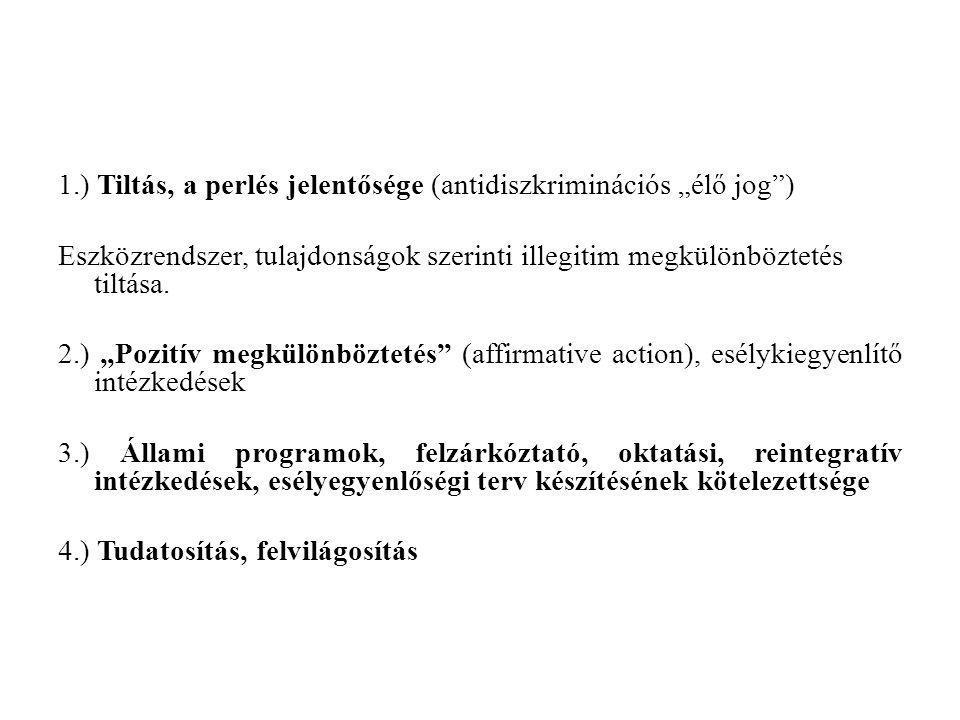 """1.) Tiltás, a perlés jelentősége (antidiszkriminációs """"élő jog"""") Eszközrendszer, tulajdonságok szerinti illegitim megkülönböztetés tiltása. 2.) """"Pozit"""