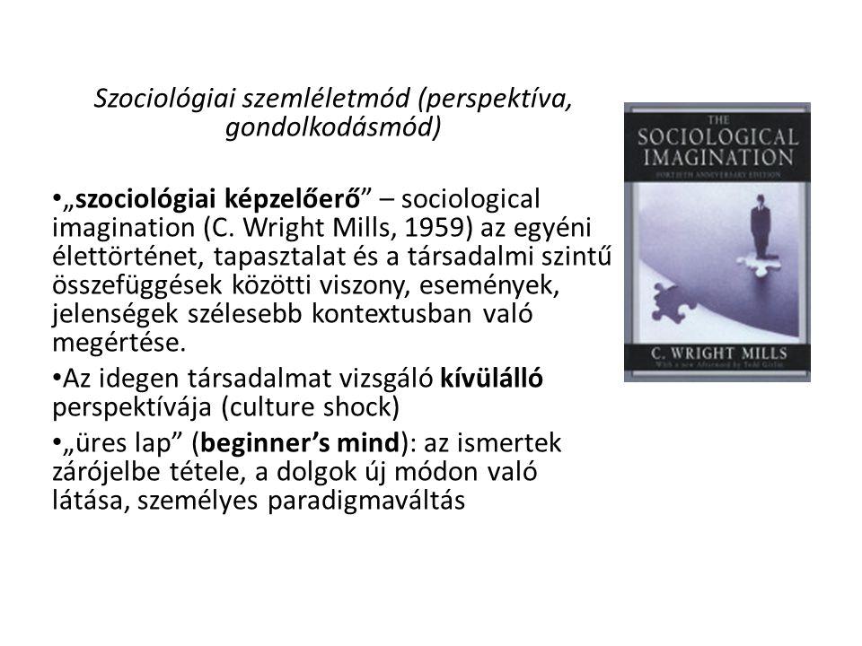 """Szociológiai szemléletmód (perspektíva, gondolkodásmód) """"szociológiai képzelőerő"""" – sociological imagination (C. Wright Mills, 1959) az egyéni élettör"""