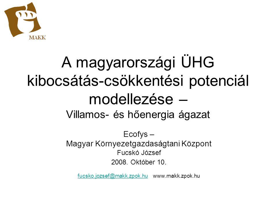 Modell felépítése Referencia forgatókönyv Magyarországra (2005-2025) Kibocsátás-csökkentési lehetőségek + referencia Alapadatok Szakpolitikai intézkedések, szcenáriók elemzése Érzékenység elemzése Kibocsátás-csökkentési potenciál és költségek Program matematikai modulja